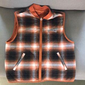 Supreme reversible shadow plaid vest never worn